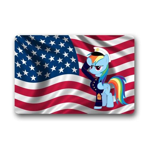 My Little Pony Rainbow Flag Custom Rug Bathroom Carpet Doormat Indoor / Outdoor Floor Door Mat Gate Pad 30x18/23.6x15.7 Inches