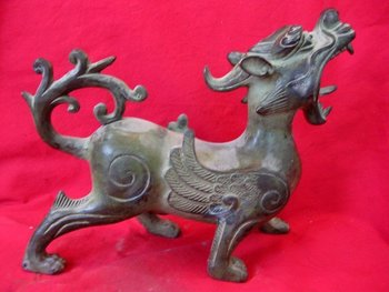 Old China(1742-1789)  Bronze statue /sculpture --Running Dragon, best collection&adornment,free shipping