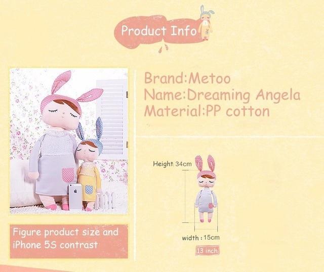 Kawaii Plush Stuffed Animal Cartoon Kids Toys for Girls Children Baby Birthday Christmas Gift Angela Rabbit Metoo Doll