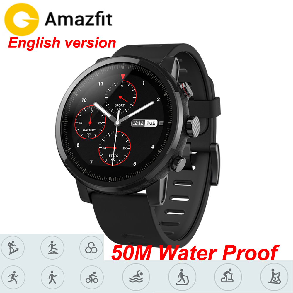 Xiaomi Amazfit 2 Huami Amazfit Stratos Pace 2 Smart Watch with GPS Xiaomi Watches PPG Heart Rate Monitor Firstbeat VO2max