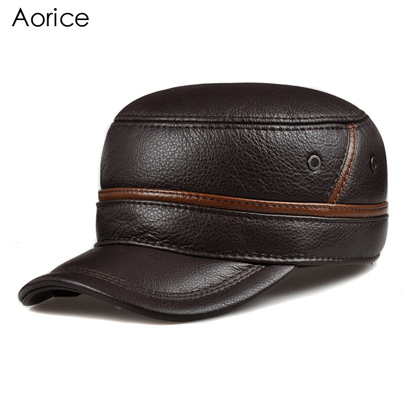 Aorice Genuine Leather Men Baseball Cap Hat CBD High Quality Men's Real Leather Adult Solid Adjustable Hats Winter Caps HL101 aorice genuine leather baseball cap men hats and caps solid color brown black leather leisure fashion travel biker hl187