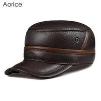 HL101 Genuine Leather Men Baseball Cap Hat CBD High Quality Men S Real Leather Adult Solid