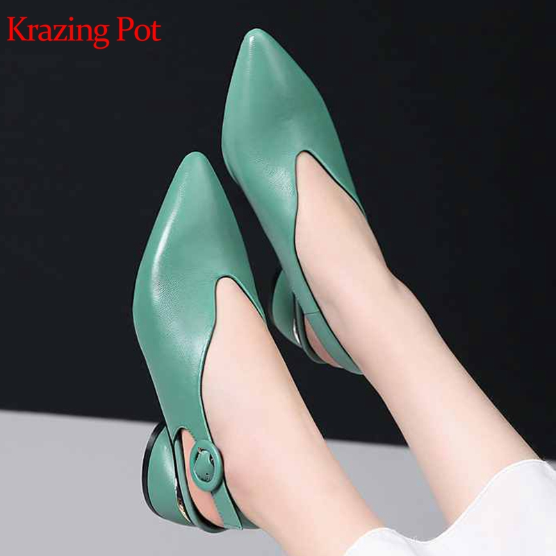 Krazing Pot popular sheep leather med heels round buckle pointed toe summer princess girl slingback big