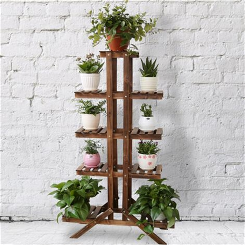 Carbonized color Bookcase Living Room Storage Cabinet Solid Wood Flower Rack Balcony Pot Culture Shelf multilayer floor type iron flower pot rack living room balcony indoor and outdoor european showy orchids hanging a few green