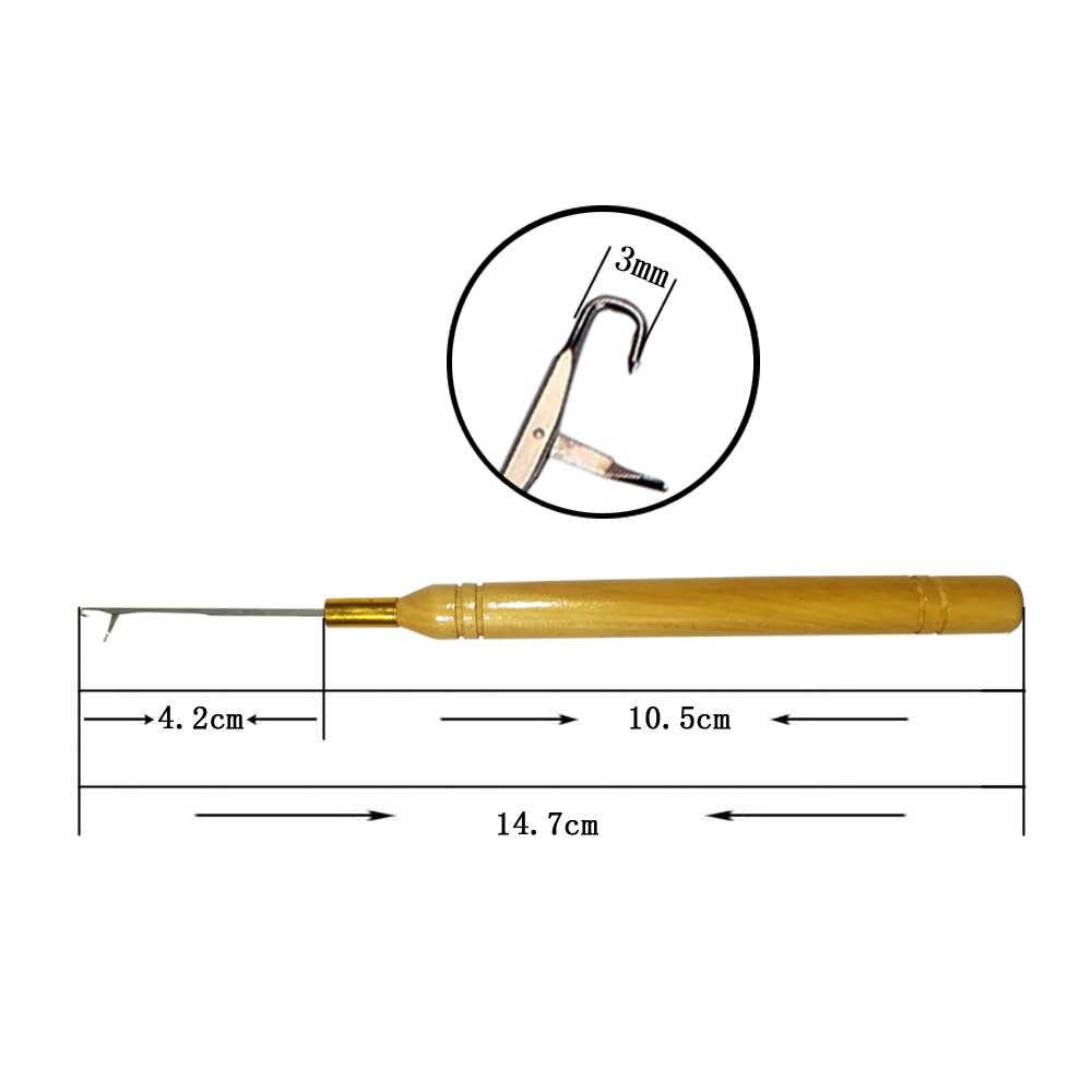 1 יח'\חבילה עץ ידית וו סרוג מחט לקישור מיקרו טבעות/Loop מחט שיער הרחבות כלים לקנות 2 לקבל 1 חינם