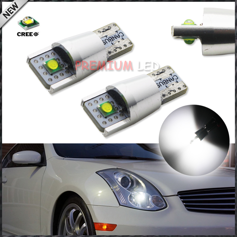 2pcs  Xenon White 2-XPE 10W 168 194 2825 W5W LED Replacement Bulbs For Parking/Position Lights or License Plate Lights