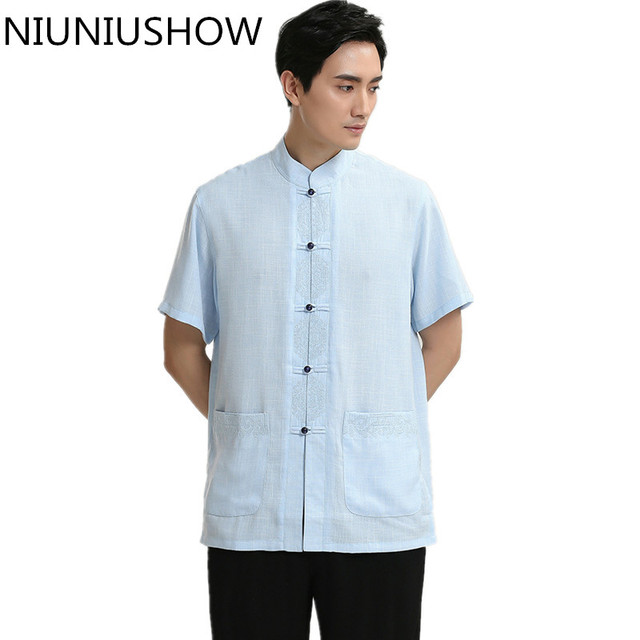 b635b8e56 High Quality Cotton Linen Tops Sky Blue Chinese Style Male Dress Shirt  Novelty Men Kung Fu Tai Chi Shirts Size M L XL XXL XXXL