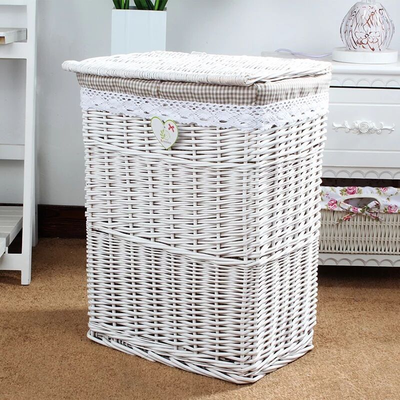 Large Wicker Laundry Basket With Lid For Clothes Rattan Cloth Hamper Canvas Sorter Fabric Storage In Bags Baskets