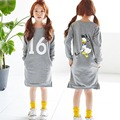 Autumn And Spring Dress For Baby Girl Kids Long Sleeve Print Letter & Cartoon Round Neck Dress Cotton Casual Knee-Length Dress