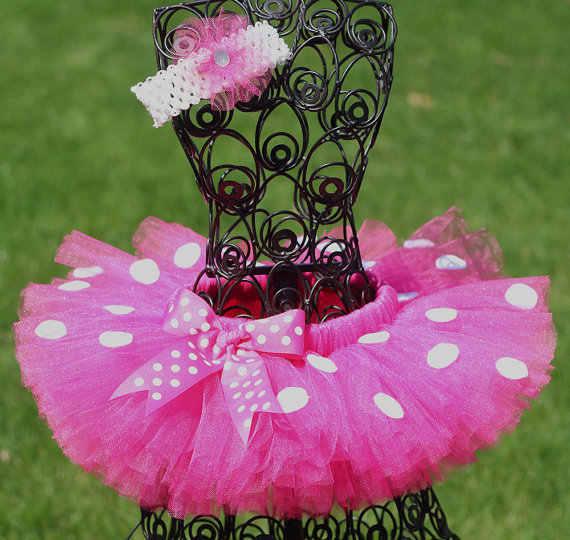 ניו בנות פינק טוטו חצאיות בייבי בעבודת יד טול Pettiskirt עם נקודות לבנות קשת וסרט פרח חצאיות טוטו ריקוד בלט ילדים בד
