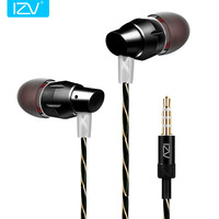 IZV 2017 Metal Headset Ear Dynamic Mobile Phone In Ear Earphone Universal Band Mic Bass Handsfree