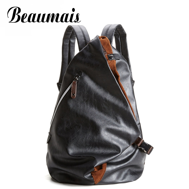 Beaumais Fashion Brand Men's Backpack Pu Leather Backpacks Male Travel Bags School Bag Casual Men Laptop Backpack Mochila DB6063