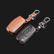 High-quality leather car remote control key leather cover for Ford Focus Focus 2 Focus3 sedan hatchback, auto parts