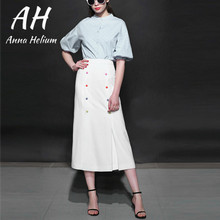 ФОТО pre spring casual o-neck collar full-sleeved colourful  botton decoration mid-calf a-line dress set  ah065