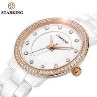 STARKING 공식 여성 시계 석영 시계 뜨거운 판매 다이아몬드 여성 팔찌 시계 제네바 로즈 골드 모조 세라믹 시계