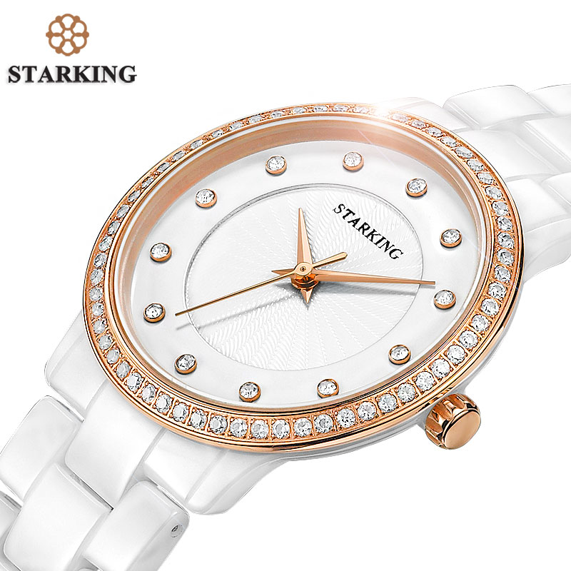 STARKING Official Women Clock Quartz Watch Hot Sale Diamond Ladies Bracelet Watches Geneva Rose Gold Rhinestone Ceramic Watches