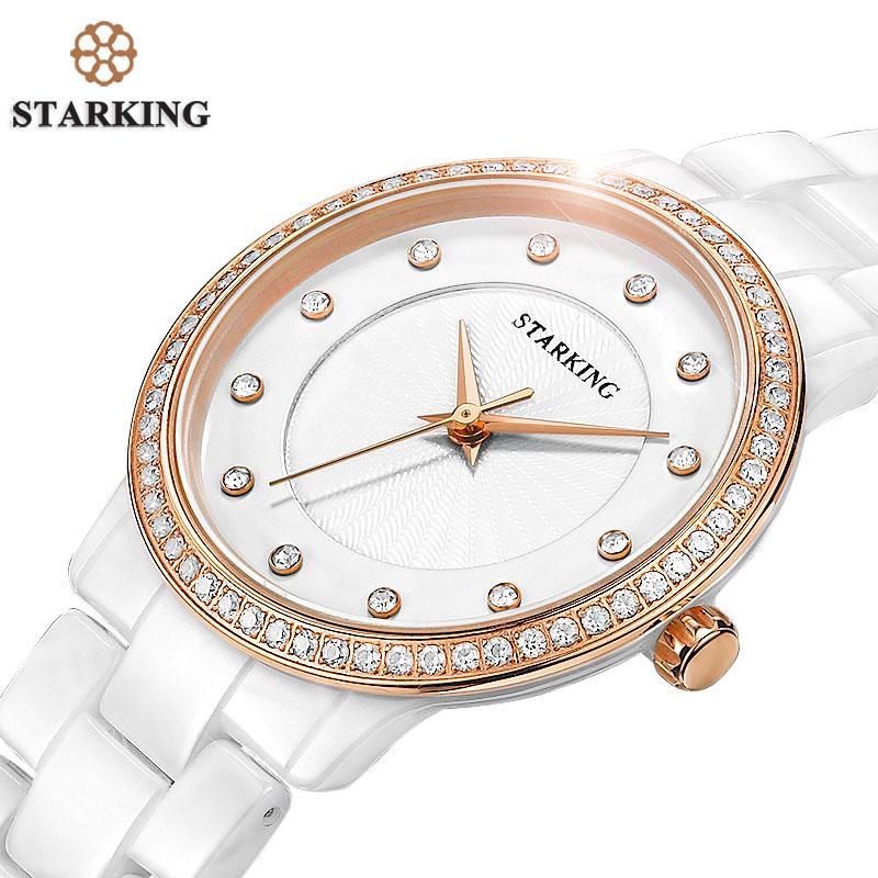 Prix pour Starking officielles femmes horloge à quartz montre chaude vente diamant dames bracelet montres genève or rose strass montres en céramique