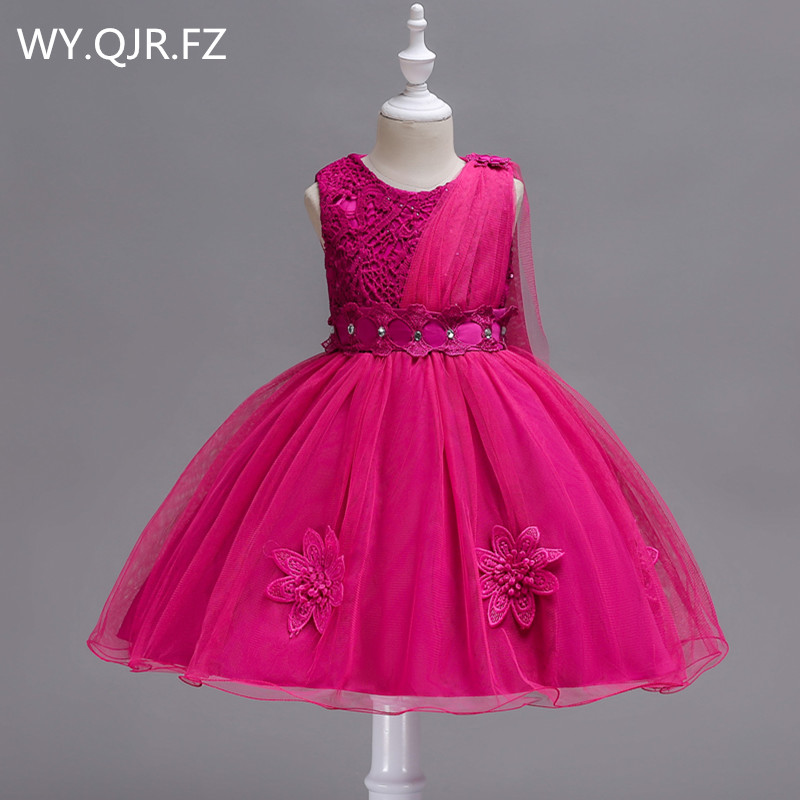 PTH-150#Bow Lace Short Rose Red   Flower     Girl     Dresses   Children's performance   dress   wedding party   dress   gown prom wholesale clothes