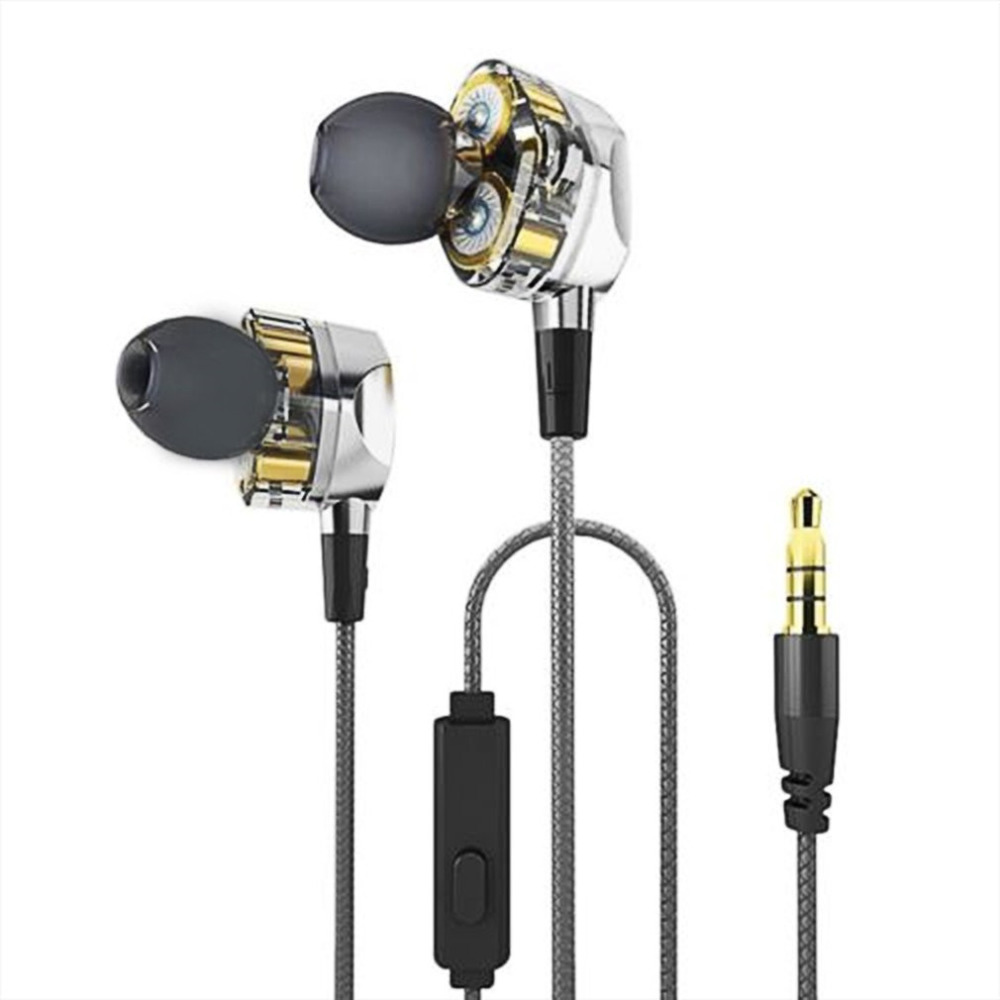 In-ear HiFi Earphones Dual Dynamic Driver 4D Stereo Surround Noise Canceling Professional HIFI Earbuds With Mic Drop Shipping kz headphones with mic original zs2 bass dual driver earphones in ear earphone noise cancelling stereo earbuds universal3 5mm