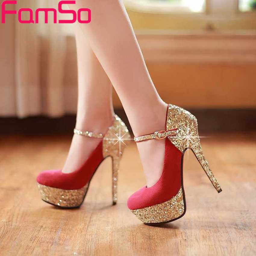 ФОТО Free shipping 2017 new Sexy Women Pumps Lady Prom Shoes Spring Wedding  high Heels Summer Shoes gold Glitter Pumps PS57