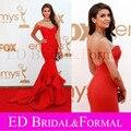 Nina Dobrev Red Dress Emmy Awards celebridade do tapete vermelho vestido sereia