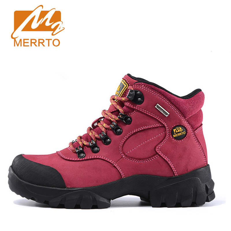 2018 Merrto Womens Hiking Boots Waterproof Outdoor Shoes Camping Sports Shoes Full-grain leather For Women Free Shipping 18001 2017 merrto womens fleece hiking jackets mountain clothing thermal color blue pink rose green for women free shipping mt19155