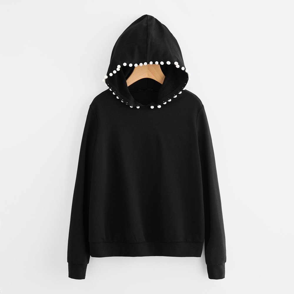 Unisex Oversized Black Sweatshirt Women Men Vogue Nail Beading Hoodies Tops Hip Hop Lady Long Sleeve Casual Pullovers Autumn #LH