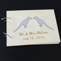 Wedding Photo Album Guest Book Wood Rustic Wedding Guest Book Lovebirds Engagement Presents Sign In Books