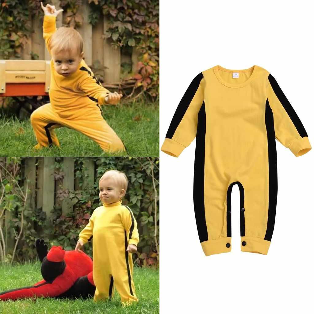 Kids Newborn Baby Boys Bruce Lee Game of Death KungFu Romper Jumpsuit Costume