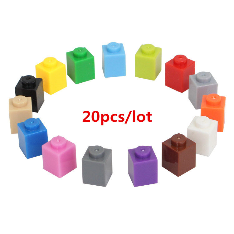 20 Teile/los 1*1 Diy Gebäude Block Dicken Bricks Kompatibel Mit Legoe Pädagogisches Spielzeug Multicolor Geschenk Für Kinder Ungleiche Leistung