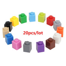 20pcs/lot 1*1 DIY Building Block Thick Bricks Compatible with Legoe Educational Toy Multicolor Gift for Children