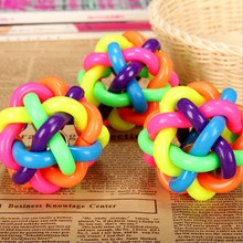 3pcs/set Pet dog dog toy ball bell sound weave colorful sounding ball twist Rainbow Ball chew Toys