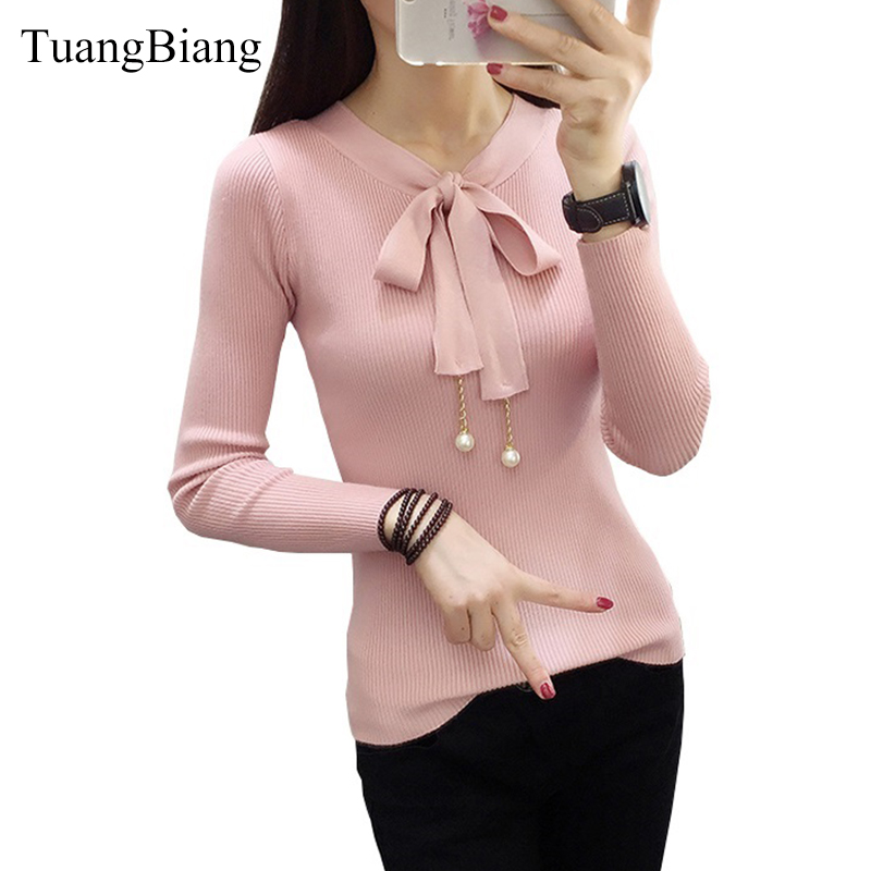 2019-autumn-ladies-spring-new-long-sleeved-sweater-pullover-women-female-sweater-lace-up-beading-butterfly-collar-basic-jumper