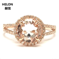1.83ct Natural Diamonds & Morganite Women Ring Solid 14k Rose Gold Engagement Wedding Ring Halo Classic Fine Jewelry