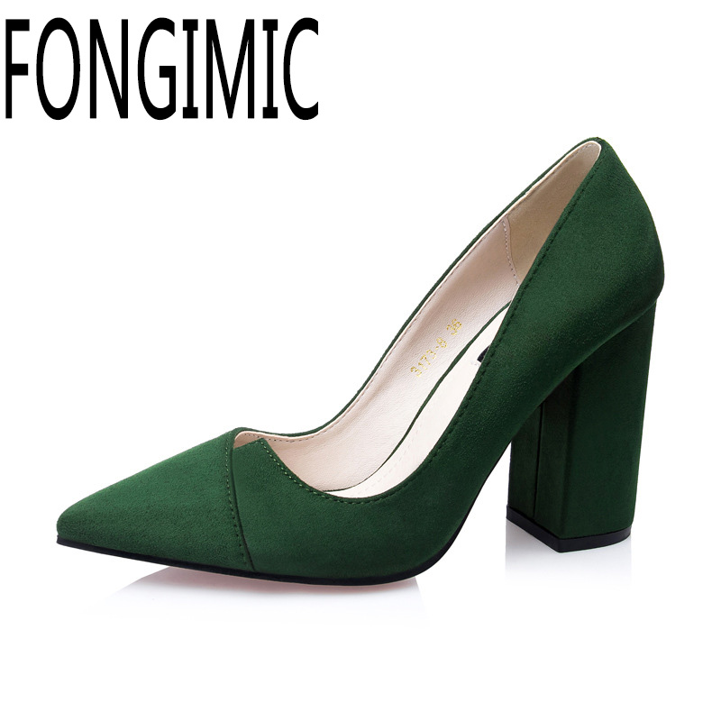 Sexy pointed toe thick heel women springn summer single shoes ladies simple fashion shallow mouth flock pumps wear comfortable flock women flats 2017 pointed toe ladies single shoes fashion shallow casual shoes plus size 40 43 small yards 33 sapatos