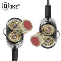 Fone De Ouvido QKZ KD2 Earphone Auriculares Dual Driver Extra Bass Turbo Wide Sound Gaming Headset