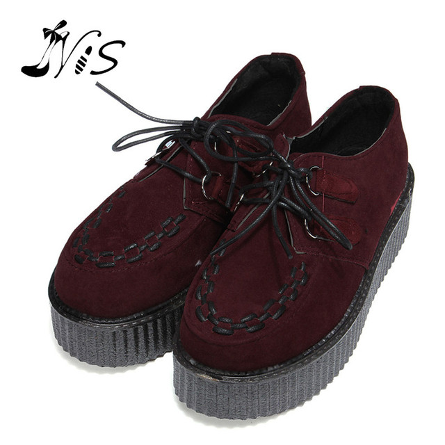 Loafers Platform shoes 2015 New Fashion Spring Autumn Sweet Women Lady Breathable Lace Up Thick Heel Heighten Flats Flock  shoes