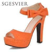 SGESVIER Women Sandals New Summer Peep Toe Ankle Strap Orange Sweet Thick High Heel Sandals Platform