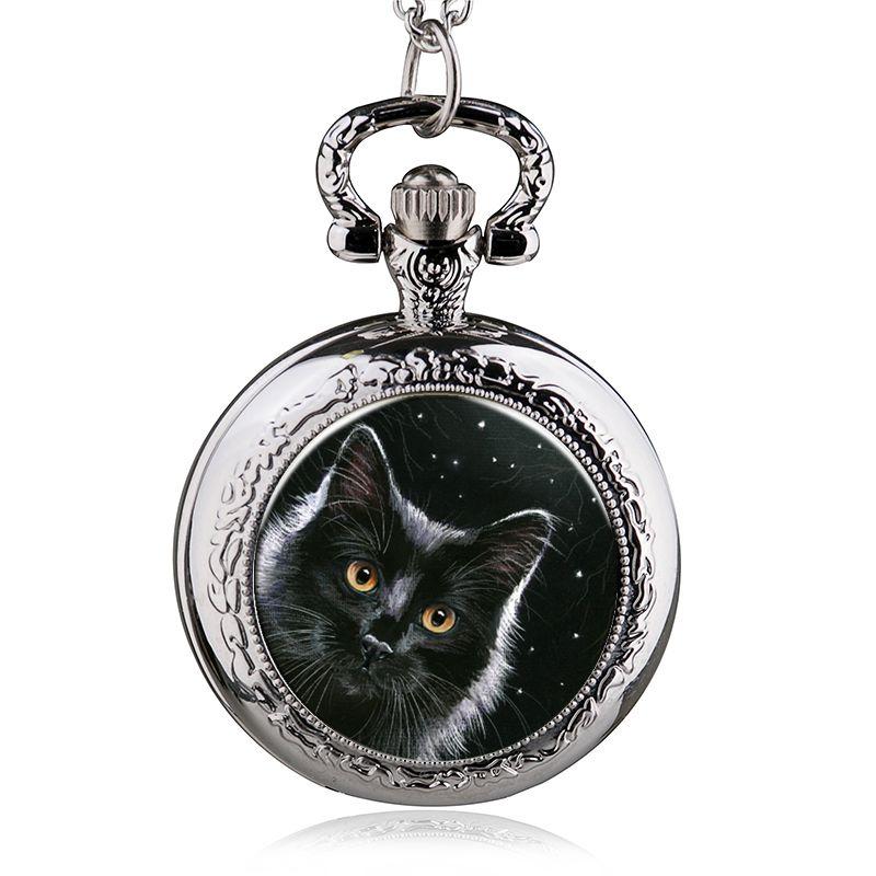 High Quality Quartz Pocket Watch Black Cute Cat Pattern With Fob Chain Watch Men Women Best Gift HB952-20