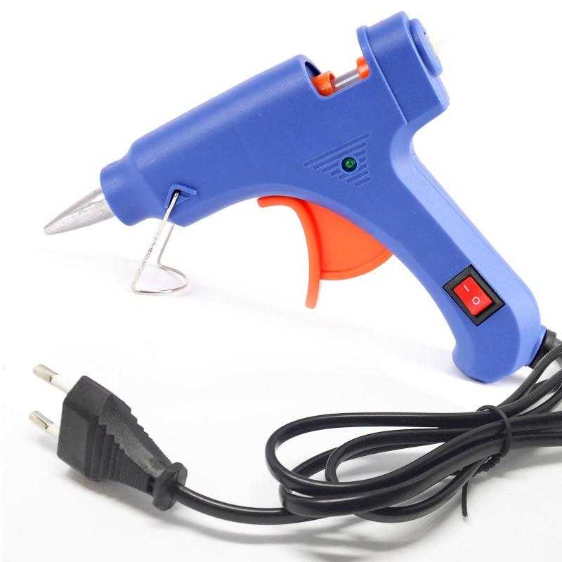 Appareil de chauffage haute température fondre un pistolet à colle chaude 20W outil de réparation Mini pistolet à chaleur EU Plug utiliser 7mm bâtons de colle outil de température de chaleur électrique