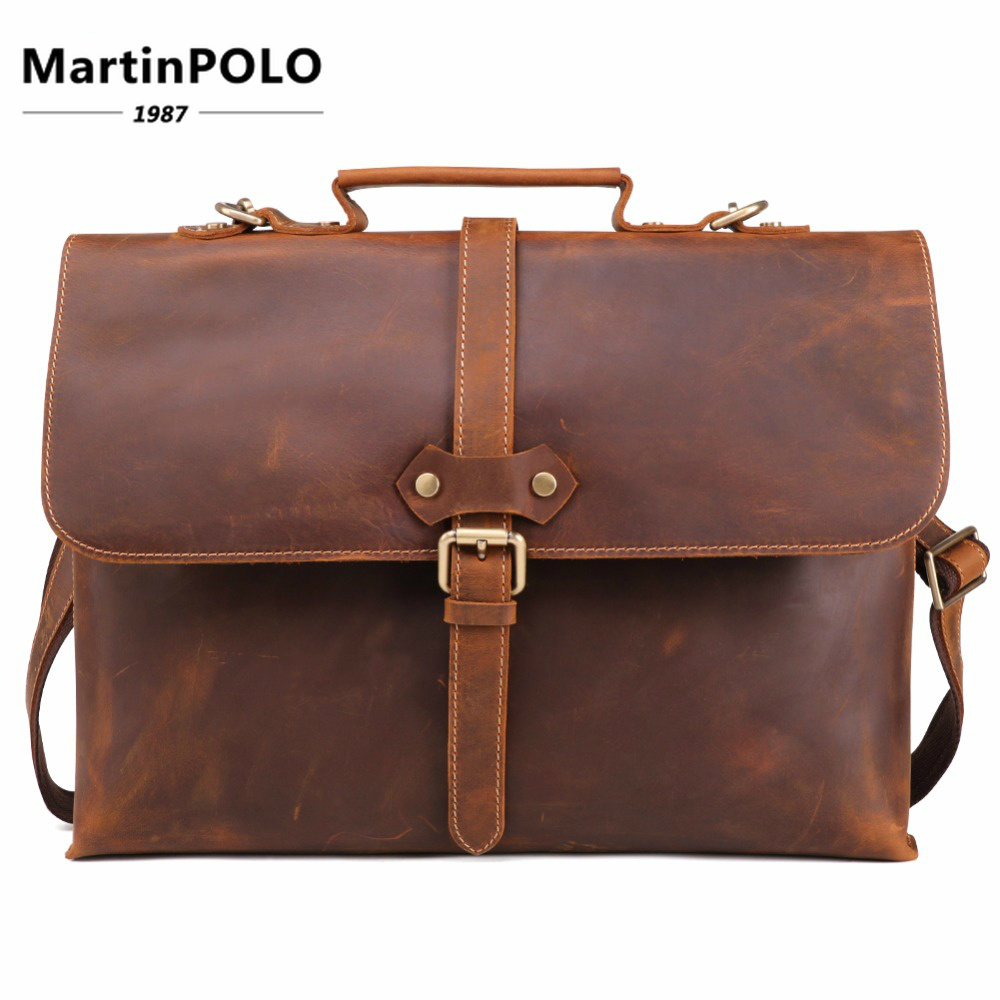 Brand Crazy Horse Genuine Leather Men Briefcase Messenger Laptop Bag Business Bags Shoulder Bag Crossbody Messenger Handbag