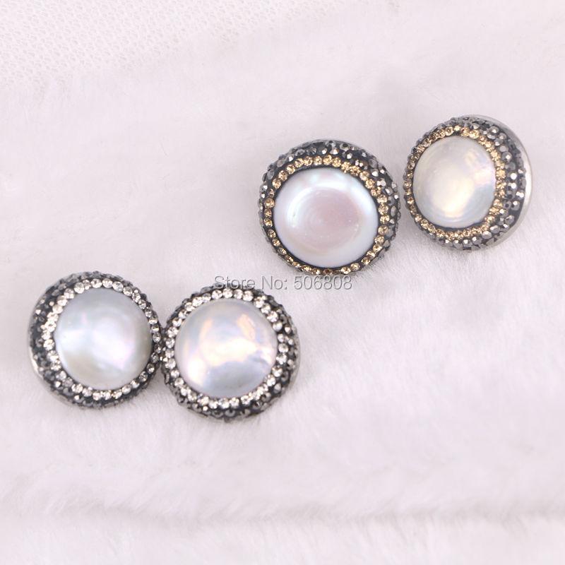 10Pairs ZYZ E3745 Pearl Stud Earrings Pearl Post earrings Pave Crystal Stud Earrings Pearl Earring Studs