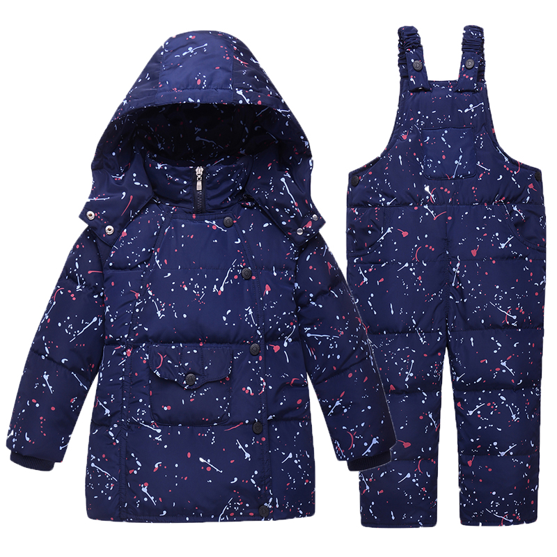 Down Jackets For Girl Boys Kids Clothes Winter Warm Coat Snowsuit Children Outerwear Clothing Set Hooded Print Overalls Jumpsuit 2017 winter down jackets for boys