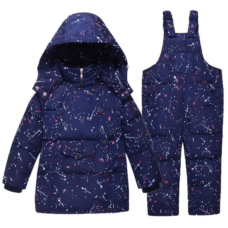 beaefdd3a592 Jaquetas Para Os Meninos Da Menina Crianças Roupas de Inverno Quente Casaco  Snowsuit Crianças Outerwear Conjunto de Roupas Com Capuz Impressão Macacão  ...