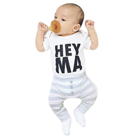 2pcs Baby Kids Toddlers Short Sleeve Letter Print Tops Stripe Pants Outift Baby Romper+Trousers Sets