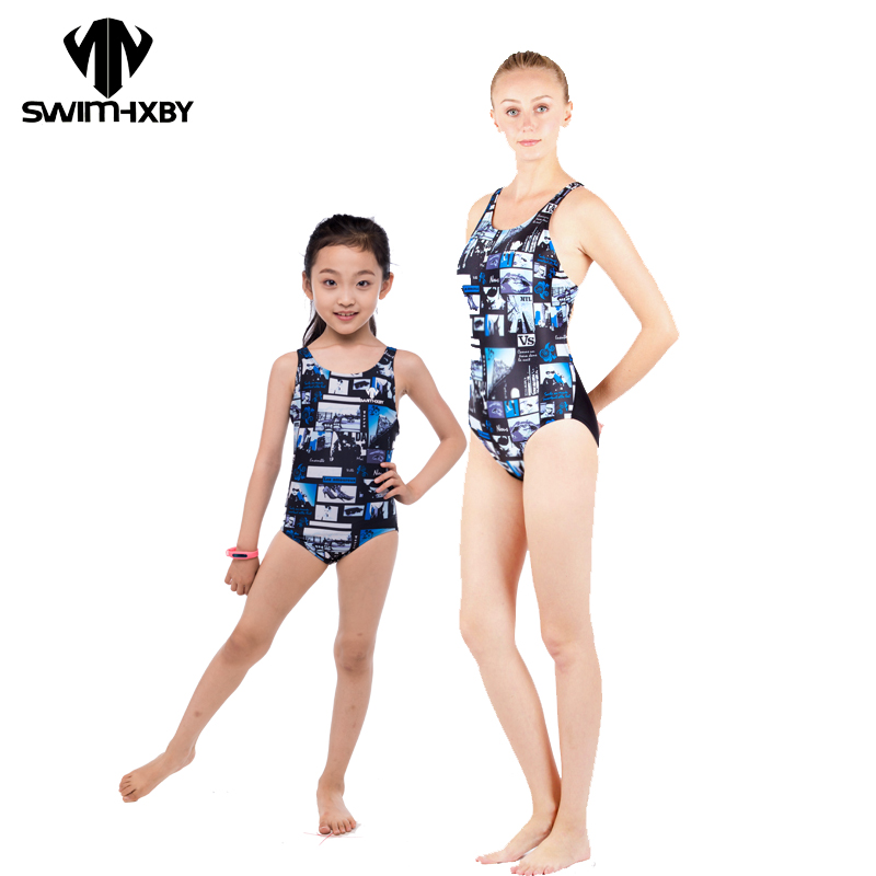 HXBY Racing Swimwear Women One Piece Swimsuit For Girls Competitive Swimming Suit For Women Bathing Suits Women's Swimsuits Kids hxby swimwear swimming women competitive swimsuit girls swimsuits sharkskin racing competition swim suits knee female