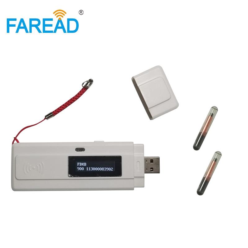 High Quality X1pc Free Shipping 134.2khz Mini USB Chip Reader FDX-B+ Free Sample X2pcs Glass Tag Transponder Chip For Testing