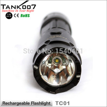 Free Shipping 2015 new tank007 TC01 Lanterna Rechargeable Outdoor Police LED Flashlight 5-modes 1*18650