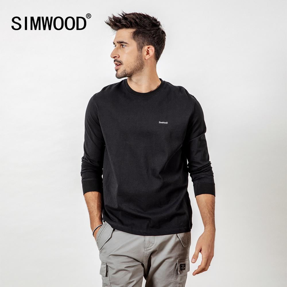 SIMWOOD Casual Long Sleeve T-Shirt Men Letter Embroided t shirt 100% Cotton Fashion Streetwear Spring Tops Tees Male 190113