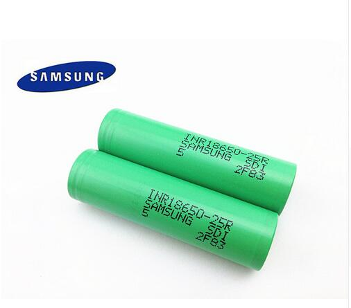 2PCS for Samsung Original 18650 battery25R INR1865025R 20A discharge lithium batteries2500mAh font b electronic b font